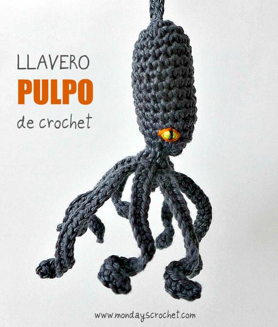 LLAVERO DE CROCHET CON FORMA DE PULPO |
